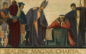 John sealing the Magna Carta, 1215 (oil on canvas)...TW429428 John sealing the Magna Carta, 1215 (oil on canvas) by Wood, Frank (fl.1925); 74x231.5 cm; Sunderland Museums & Winter Garden Collection, Tyne & Wear, UK; (add.info.: Also shows 'Michaelmas Daisy' and 'Daffodil' by different artists; King John (1167-1216) signing the Magna Carta, 15th June 1215;);  Tyne & Wear Archives & Museums; British,  in copyright  PLEASE NOTE: This image is protected by the artist's copyright which needs to be cleared by you. If you require assistance in clearing permission we will be pleased to help you.